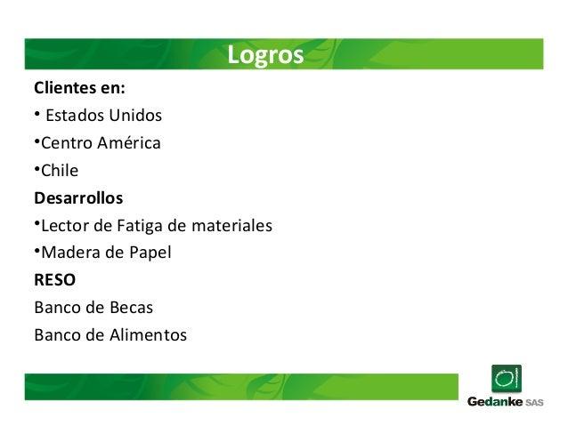 Logros Clientes en: • Estados Unidos •Centro América •Chile Desarrollos •Lector de Fatiga de materiales •Madera de Papel R...