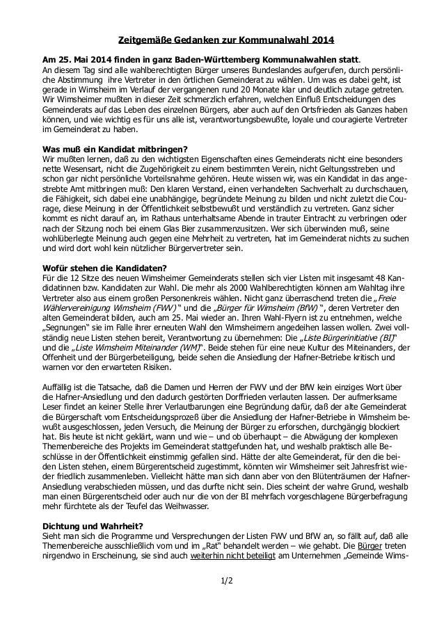 Zeitgemäße Gedanken zur Kommunalwahl 2014 Am 25. Mai 2014 finden in ganz Baden-Württemberg Kommunalwahlen statt. An diesem...