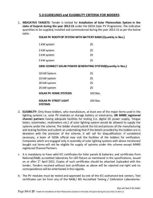 Tender Document For Solar Power Plant In Gujarat Part 1