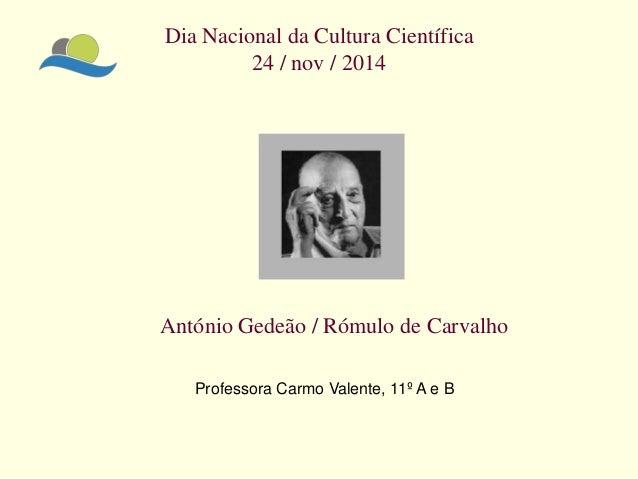 Dia Nacional da Cultura Científica 24 / nov / 2014  António Gedeão / Rómulo de Carvalho  Professora Carmo Valente, 11º A e...