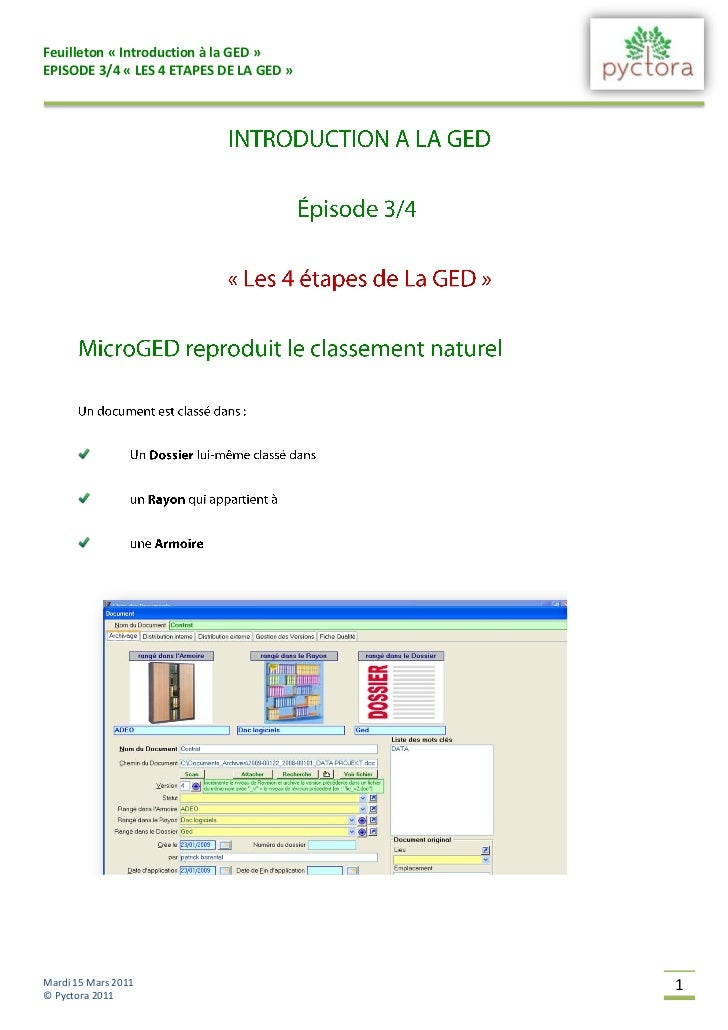 Feuilleton « Introduction à la GED »EPISODE 3/4 « LES 4 ETAPES DE LA GED »Mardi 15 Mars 2011                       1© Pyct...