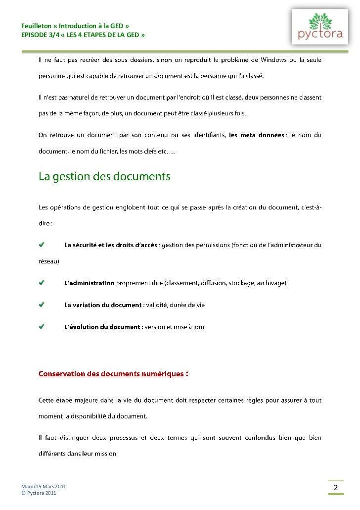 Feuilleton « Introduction à la GED »EPISODE 3/4 « LES 4 ETAPES DE LA GED »Mardi 15 Mars 2011                       2© Pyct...