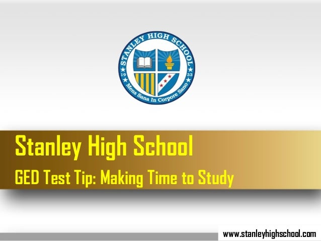 Ged test tip making time to study stanley high school ged test tip making time to study stanleyhighschool altavistaventures Choice Image