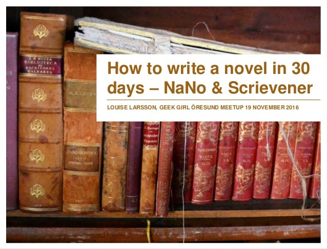 Write a novel in 30 days contest
