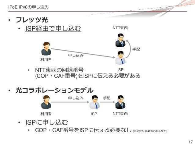 17 IPoE IPv6の申し込み • フレッツ光 • ISP経由で申し込む • NTT東西の回線番号 (COP・CAF番号)をISPに伝える必要がある • 光コラボレーションモデル • ISPに申し込む • COP・CAF番号をISPに伝える...