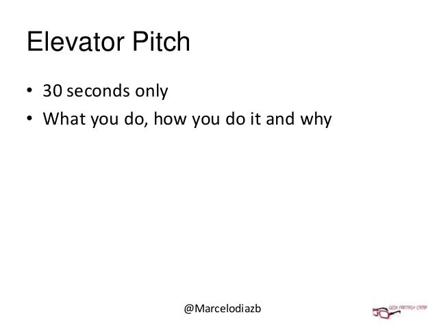 Geekcamp pitch template for 30 second pitch template