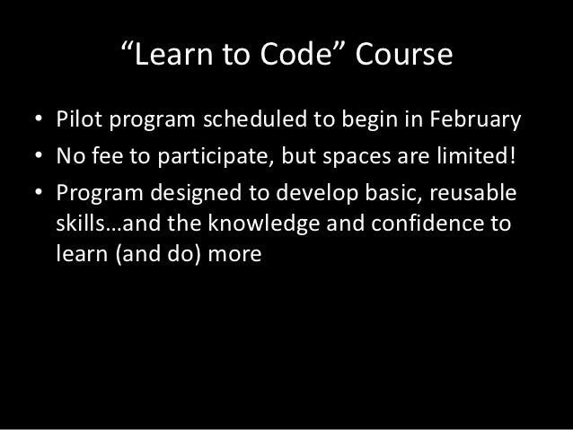 """""""Learn to Code"""" Course"""