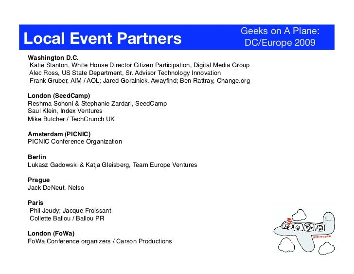 Geeks on A Plane: Local Event Partners                                                        DC/Europe 2009 Washington D....