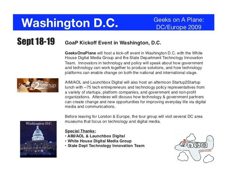 Washington D.C.                                              Geeks on A Plane:                                            ...