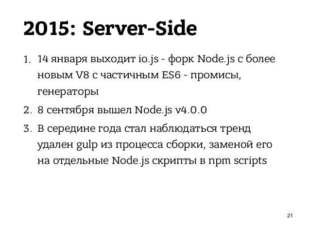 2015: Client-Side 1. Пришёл ES6, 15 февраля - Babel (6to5 + esnext) 2. React Native 3. Изоморфные приложения 4. Взлёт попу...