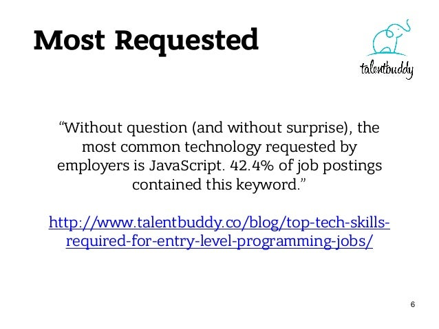 Most Requested • JavaScript: 5,211 jobs found • Node.js: 591 jobs found • Java: 1,639 jobs found • Ruby: 762 jobs found 7