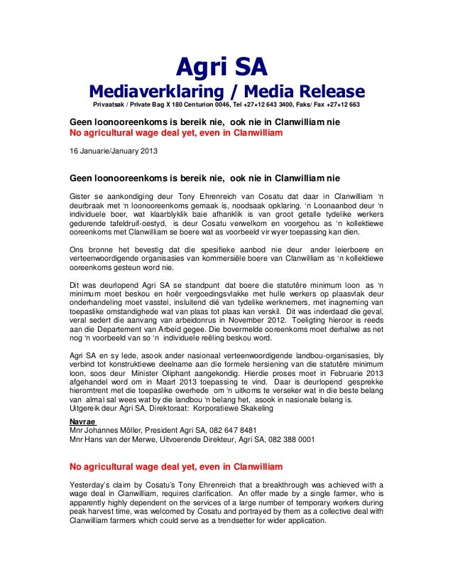 Agri SA     Mediaverklaring / Media Release      Privaatsak / Private Bag X 180 Centurion 0046, Tel +27+12 643 3400, Faks/...