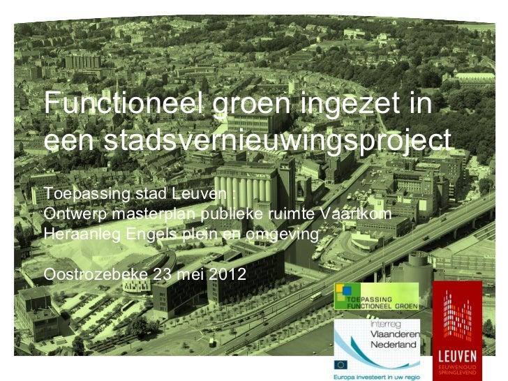 Functioneel groen ingezet ineen stadsvernieuwingsprojectToepassing stad Leuven :Ontwerp masterplan publieke ruimte Vaartko...