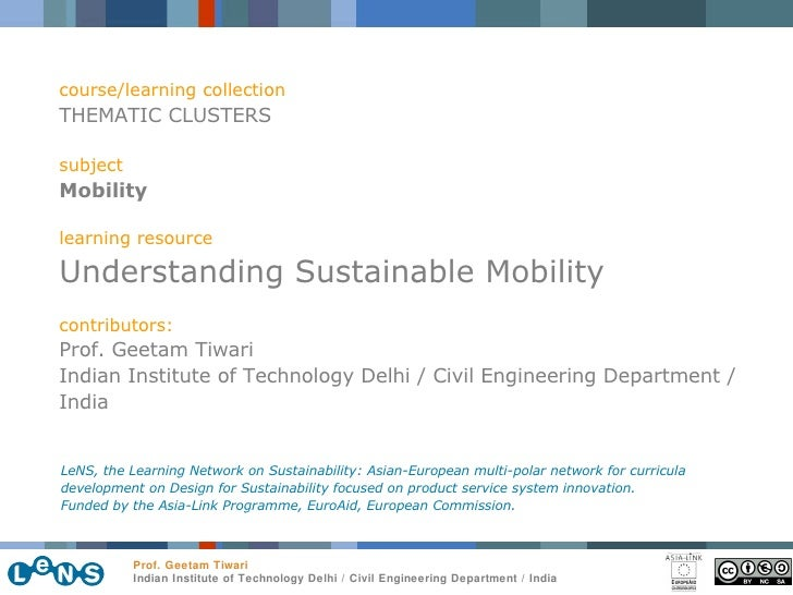 course/learning collection THEMATIC CLUSTERS subject Mobility learning resource Understanding Sustainable Mobility contrib...