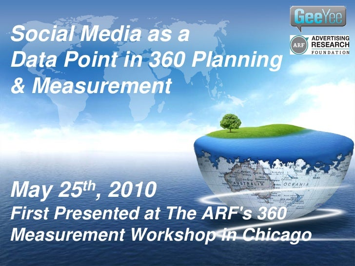 Social Media as aData Point in 360 Planning& MeasurementMay   25th,   2010First Presented at The ARFs 360Measurement Works...