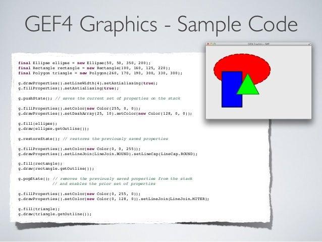 GEF4 Graphics - Sample Code final Ellipse ellipse = new Ellipse(50, 50, 350, 200); final Rectangle rectangle = new Rectang...