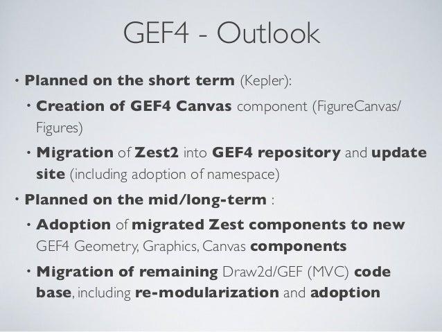 GEF4 - Outlook • Planned on the short term (Kepler): • Creation of GEF4 Canvas component (FigureCanvas/ Figures) • Migrati...