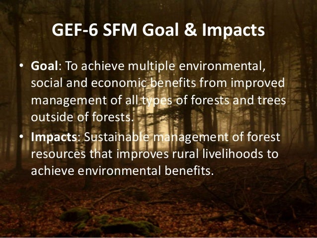 GEF-6 SFM Goal & Impacts  • Goal: To achieve multiple environmental,  social and economic benefits from improved  manageme...