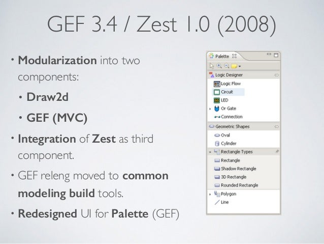 GEF 3.4 / Zest 1.0 (2008) • Modularization into two components: • Draw2d • GEF (MVC) • Integration of Zest as third compon...