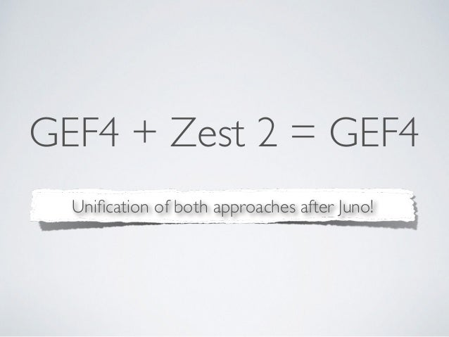 GEF4 + Zest 2 = GEF4 Unification of both approaches after Juno!
