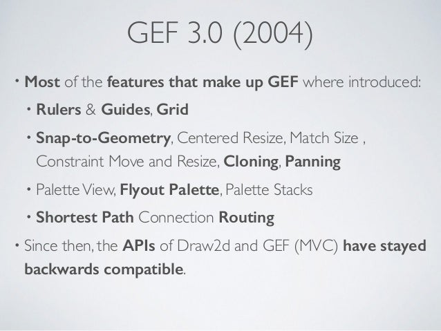 GEF 3.0 (2004) • Most of the features that make up GEF where introduced: • Rulers & Guides, Grid • Snap-to-Geometry, Cente...