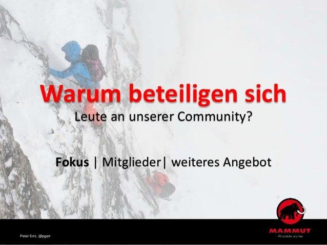 Warum beteiligen sich Leute an unserer Community? Fokus | Mitglieder| weiteres Angebot Peter Erni, @pgart