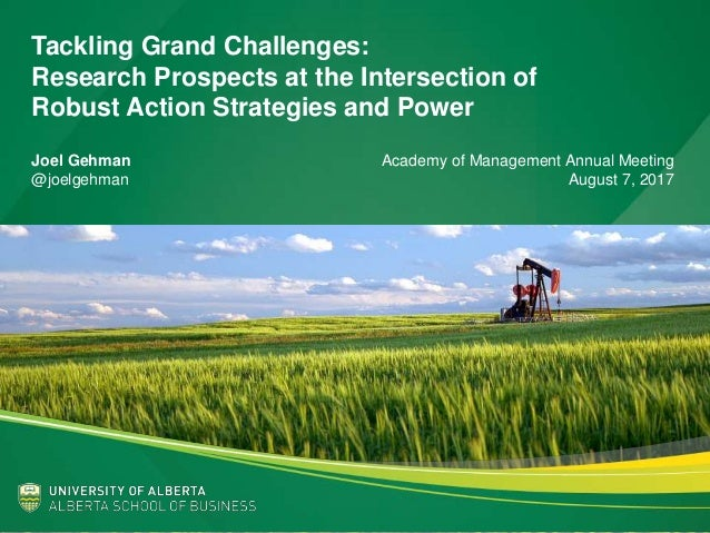 Tackling Grand Challenges: Research Prospects at the Intersection of Robust Action Strategies and Power Joel Gehman Academ...