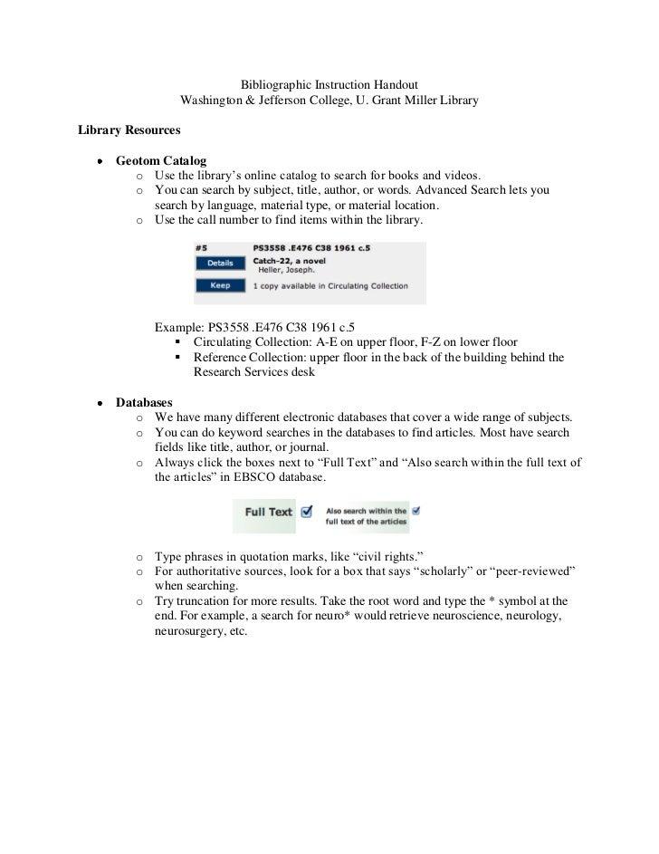 Bibliographic Instruction Handout                  Washington & Jefferson College, U. Grant Miller LibraryLibrary Resource...