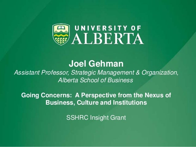 Going Concerns:  A Perspective from the Nexus of Business, Culture and Institutions Slide 2