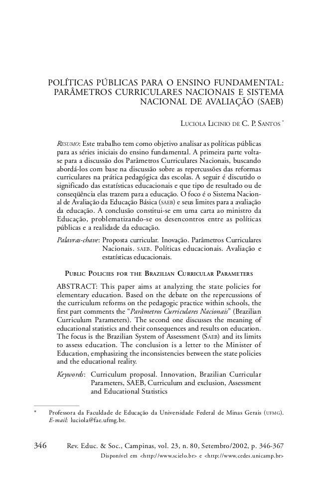 346 Rev. Educ. & Soc., Campinas, vol. 23, n. 80, Setembro/2002, p. 346-367 Disponível em <http://www.scielo.br> e <http://...
