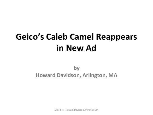 Geico's Caleb Camel Reappears in New Ad by Howard Davidson, Arlington, MA  Slide By :- Howard Davidson Arlington MA