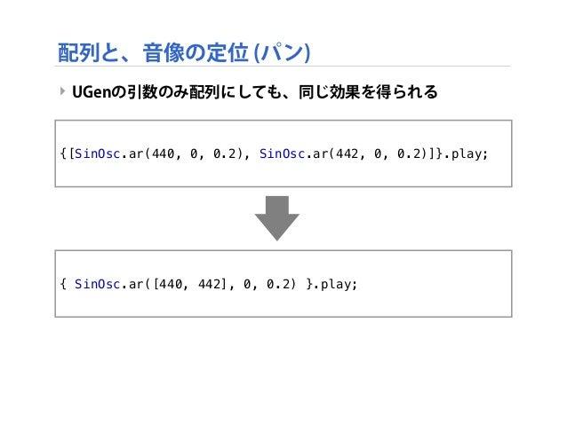 ‣ UGenの引数のみ配列にしても、同じ効果を得られる {[SinOsc.ar(440, 0, 0.2), SinOsc.ar(442, 0, 0.2)]}.play; 配列と、音像の定位 (パン) { SinOsc.ar([440, 442]...