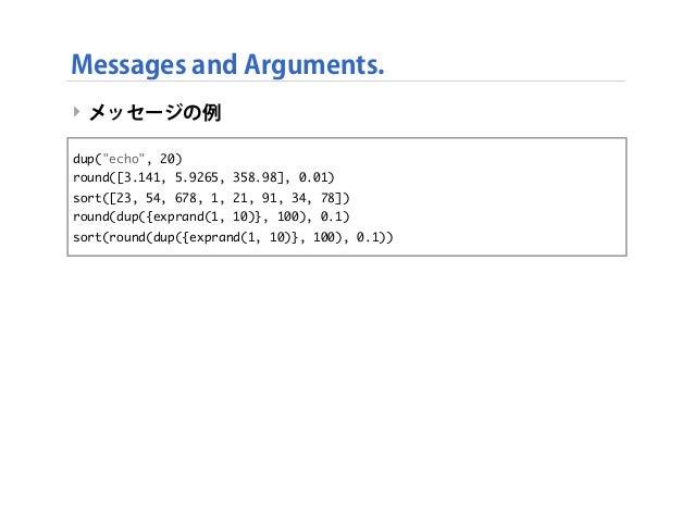 """‣ メッセージの例 Messages and Arguments. dup(""""echo"""", 20) round([3.141, 5.9265, 358.98], 0.01) sort([23, 54, 678, 1, 21, 91, 34, 7..."""