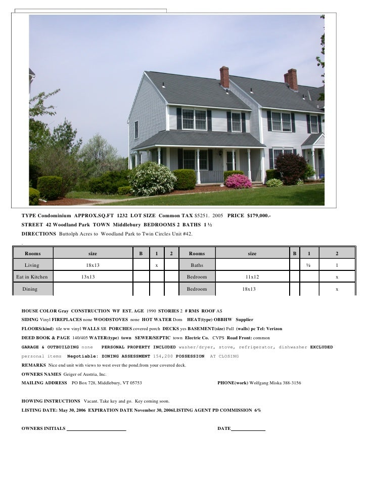 RESIDENTIAL/CONDO LISTING         DATA SHEET       TYPE Condominium APPROX.SQ.FT 1232 LOT SIZE Common TAX $5251. 2005 PRIC...