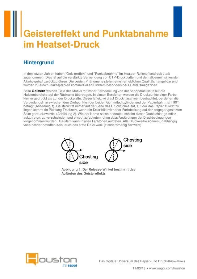 """Geistereffekt und Punktabnahmeim Heatset-DruckHintergrundIn den letzten Jahren haben """"Geistereffekt"""" und """"Punktabnahme"""" im..."""