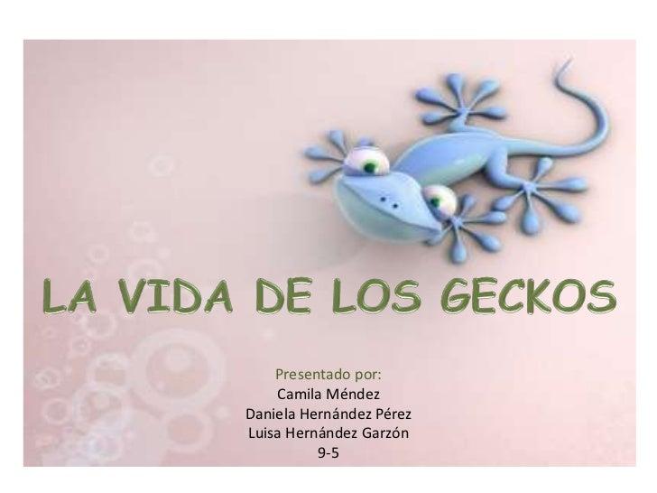 LA VIDA DE LOS GECKOS<br />Presentado por:<br />Camila Méndez<br />Daniela Hernández Pérez<br />Luisa Hernández Garzón<br ...
