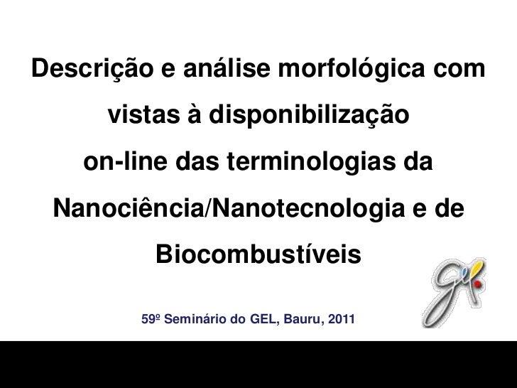 Descrição e análise morfológica com vistas à disponibilizaçãoon-line das terminologias da Nanociência/Nanotecnologia e de ...