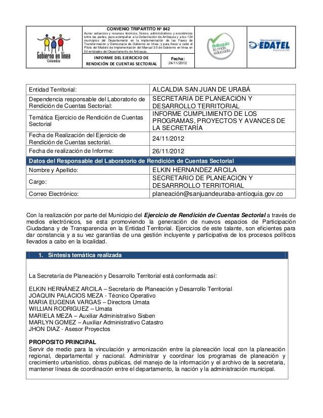 CONVENIO TRIPARTITO Nº 842                        Aunar esfuerzos y recursos técnicos, físicos, administrativos y económic...