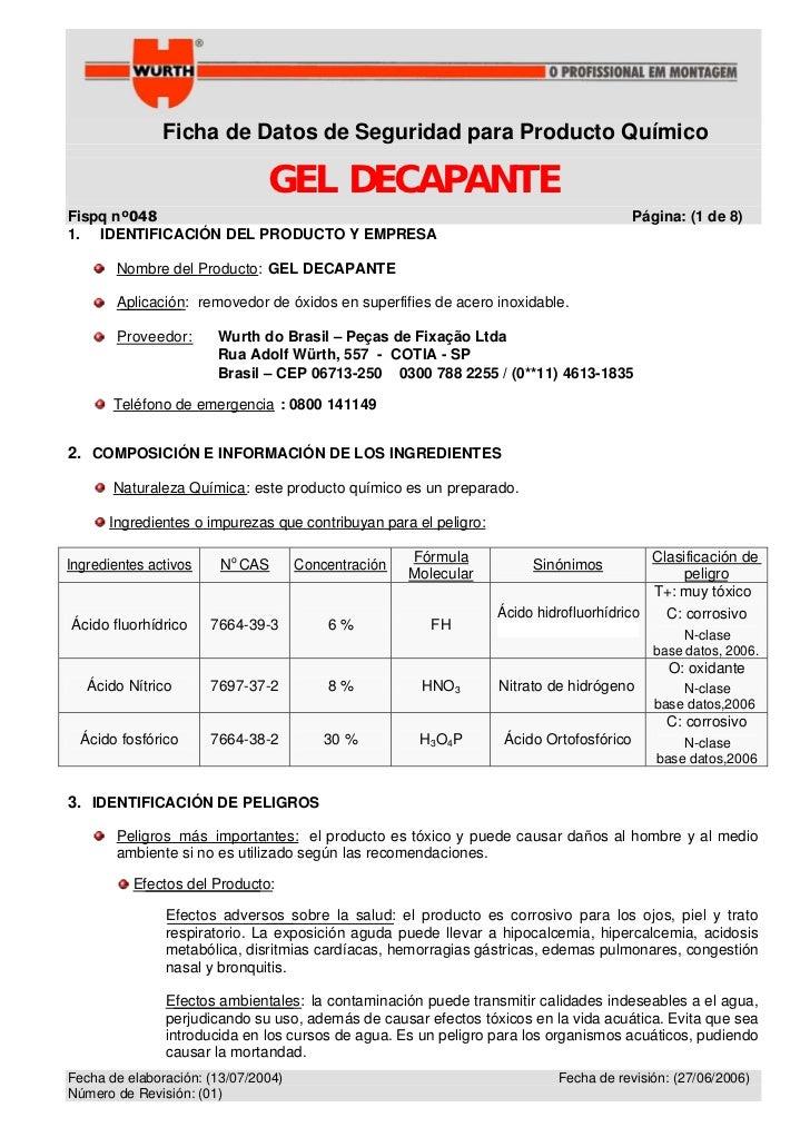 Ficha de Datos de Seguridad para Producto Químico                               GEL DECAPANTEFispq nº048                  ...