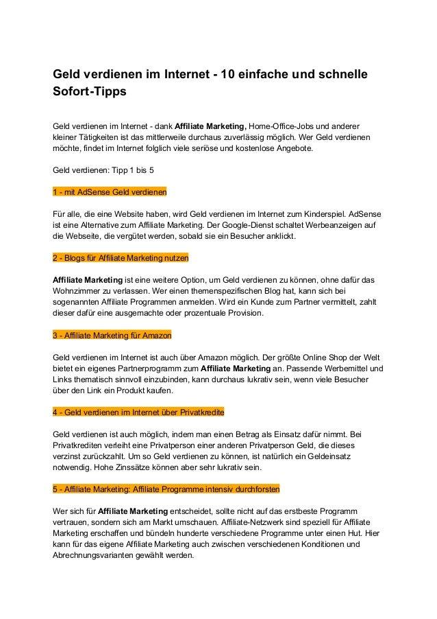 GeldverdienenimInternet10einfacheundschnelle SofortTipps  GeldverdienenimInternetdankAffiliateMarket...