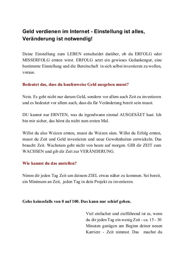 GeldverdienenimInternetEinstellungistalles, Veränderungistnotwendig!  Deine Einstellung zum LEBEN entscheidet...