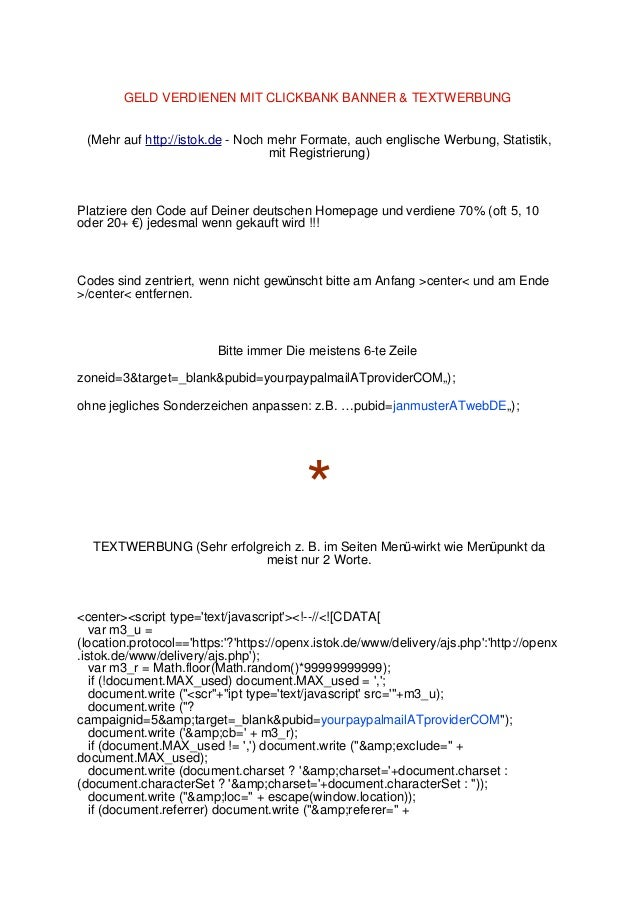GELD VERDIENEN MIT CLICKBANK BANNER & TEXTWERBUNG (Mehr auf http://istok.de - Noch mehr Formate, auch englische Werbung, S...