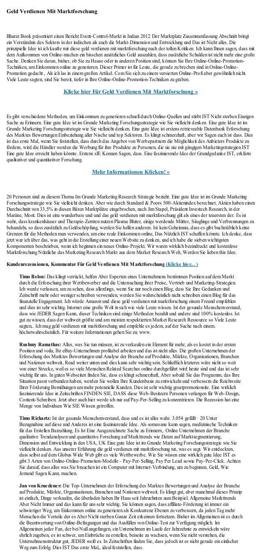Geld Verdienen Mit MarktforschungBharat Book präsentiert einen Bericht Event-Control-Markt in Indian 2012 Der Marktplatz Z...