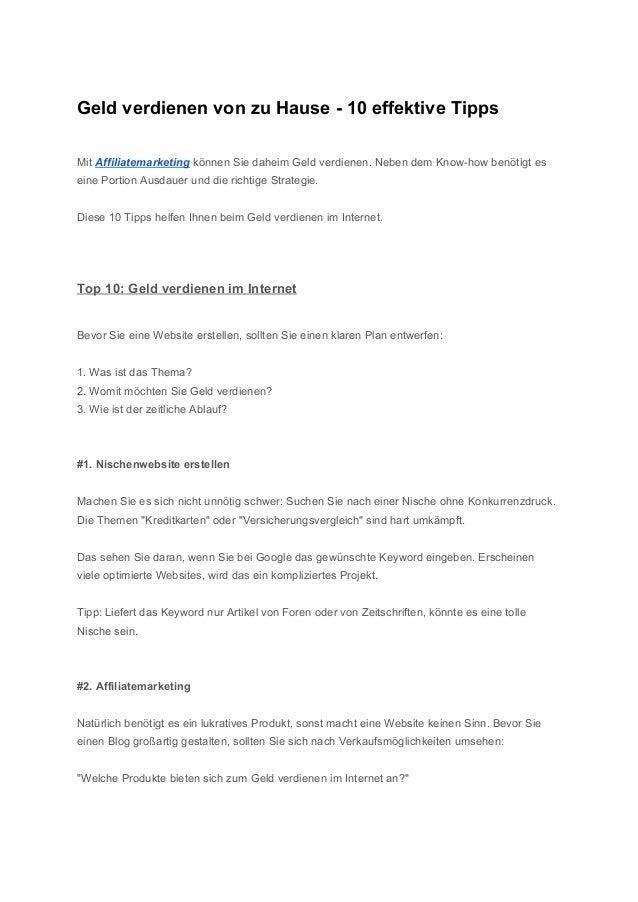 GeldverdienenvonzuHause10effektiveTipps  MitAffiliatemarketingkönnenSiedaheimGeldverdienen.NebendemK...