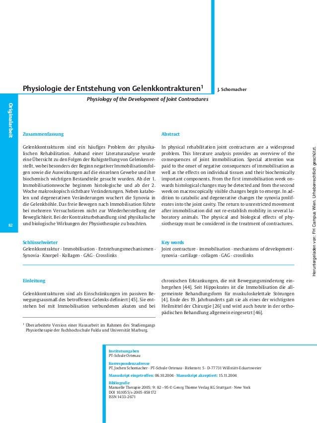 Einleitung Gelenkkontrakturen sind als Einschränkungen im passiven Be- wegungsausmaß des betroffenen Gelenks definiert [45...