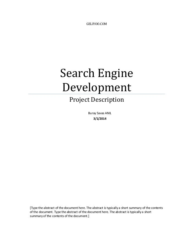 GELIYOO.COM Search Engine Development Project Description [Type the abstract of the document here. The abstract is typical...