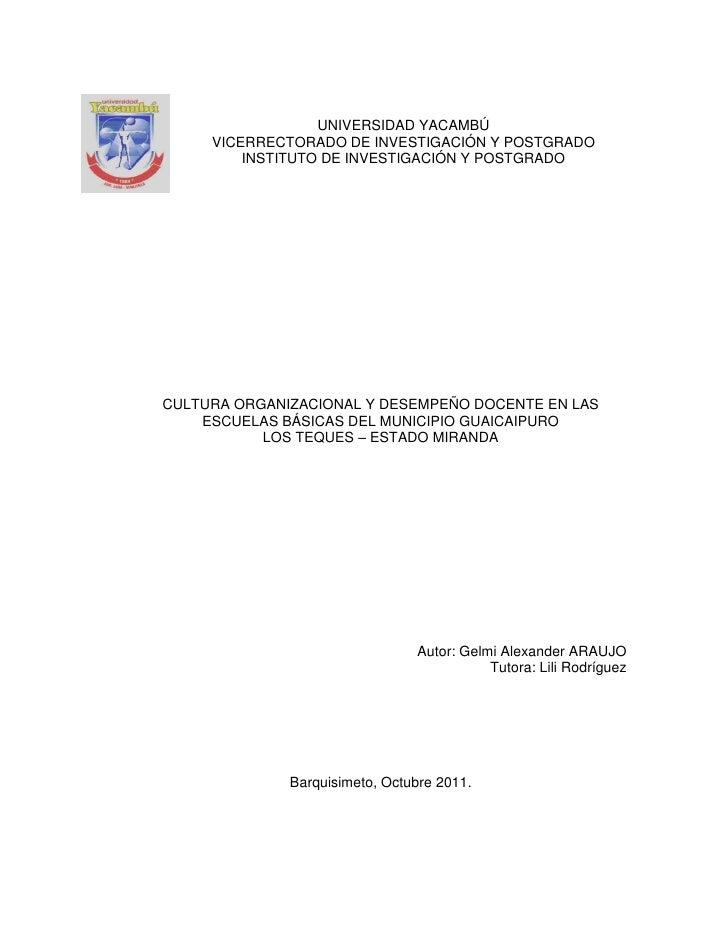 UNIVERSIDAD YACAMBÚ     VICERRECTORADO DE INVESTIGACIÓN Y POSTGRADO         INSTITUTO DE INVESTIGACIÓN Y POSTGRADOCULTURA ...