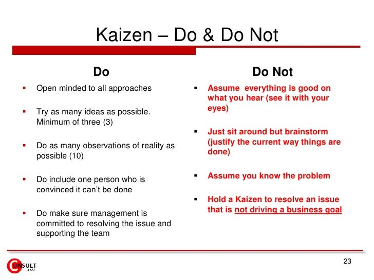 Kaizen – Do & Do Not                   Do                                      Do Not   Open minded to all approaches    ...