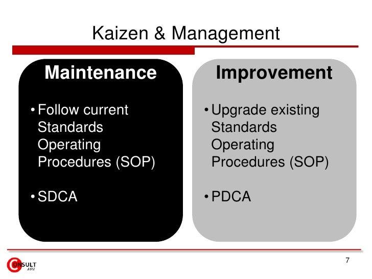 Kaizen & Management  Maintenance         Improvement• Follow current     • Upgrade existing  Standards            Standard...