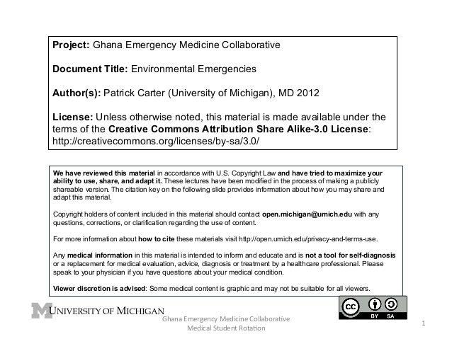 Project: Ghana Emergency Medicine Collaborative Document Title: Environmental Emergencies Author(s): Patrick Carter (Unive...